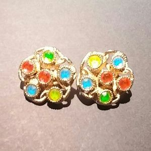 Vintage Sarah Coventry Signed Moon Lites Earrings